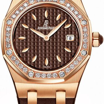Audemars Piguet Royal Oak Diamond Brown Dial Rose Gold Ladies Watch