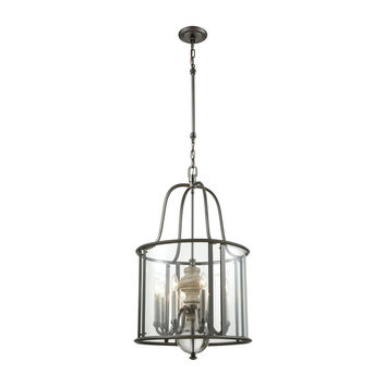 Neo Classica 8 Light Chandelier In Aged Black Nickel With Weathered Birch Finished Wood And Clear Crystal Ball