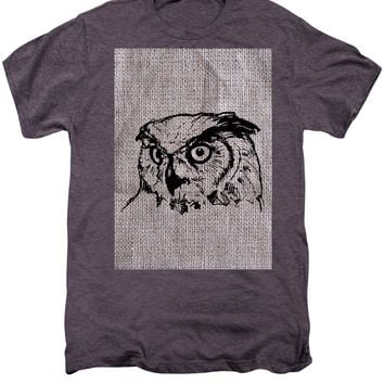 Owl On Burlap - Men's Premium T-Shirt