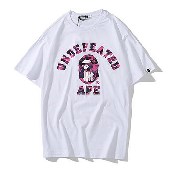 Bape Aape Fashion New Bust Camouflage Letter Print Women Men Top T-Shirt Women White