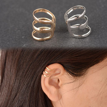 ES131 New style of ancient complex hollow U-shaped clip earrings non pierced ear bone ear clip earrings invisible men and women