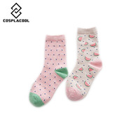 [COSPLACOOL]New Fashion Harajuku Cute Watermelon Pattern Cotton Socks For  Women calcetines chaussette femme meias 2 pair