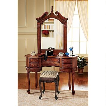 Queen Ann Dressing Table And Mirror Fancy European Ladies Furniture 45W