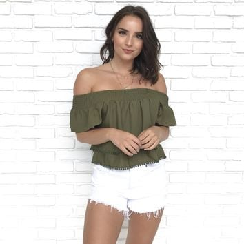 Two Tier Off Shoulder Olive Blouse