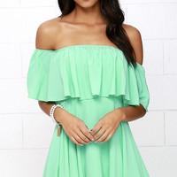 Young and in Love Mint Green Off-the-Shoulder Dress