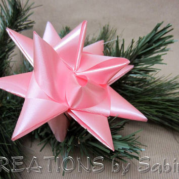 Large German Ribbon Star Christmas Ornament / Pink / Froebel Stern Advent Danish Swedish Polish Origami 3D Baby girl 1st READY TO SHIP (21)