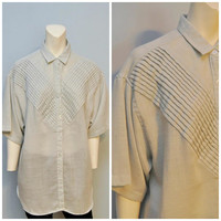 Vintage Oversize Gray Linen Blouse Tunic with Pleated Chevron Detail Semi-Sheer Size 1X by Together Short Sleeve Textured Shirt 90's Top