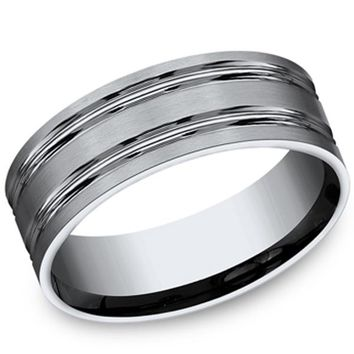 Benchmark 8MM Carved Mens Satin Finish Wedding Band