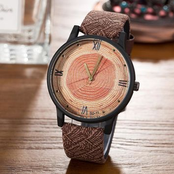 New 2017 Wood Retro Women Casual Watches Brand Vintage Leather ladies Quartz Clock Hours Woman Fashion Face Wooden dress Watch