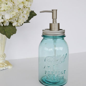 Win This & 15 other Vintage Items!!!click on this link for more info www.etsy.com/... RESERVED Blue Ball Mason Jar Soap Dispenser by JudysJunktion