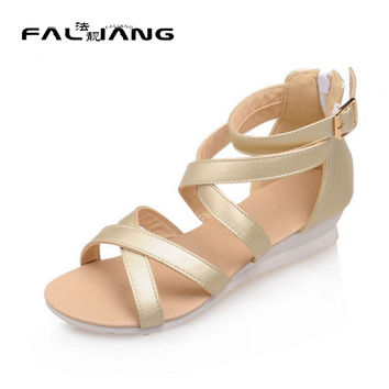 2017 Summer Brand New Arrival Womens Girls Open Toe Cross Strap Rome Low Wedge Heel Casual Sandals Shoes Gold White Purple Pink