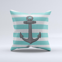 Teal Stripes with Gray Nautical Anchor ink-Fuzed Decorative Throw Pillow