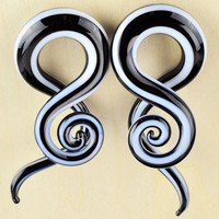 "Pair of glass pyrex twister hanger spiral tapers ear plugs gauged ear spacers jewelry sizes 4g (5mm) - 5/8"" (16mm) GT-004"