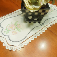 Vintage white linen dresser scarf table runner doily with crochet border and embroidered flowers for housewares, home decor by MarlenesAttic