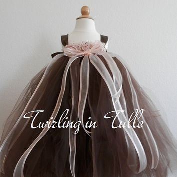 Flower Girl Dress Brown and Peach Flower Girl Dress  Size 5-6