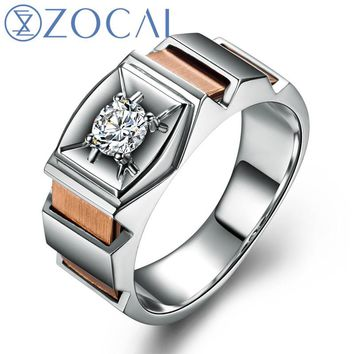 ZOCAI BRAND 0.28 CT CERTIFIED VS/H DIAMOND MEN'S WEDDING BAND RING ROUND CUT 18K WHITE GOLD ROSE GOLD DUAL COLORED M00560
