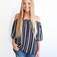 Striped Frayed OTS Top