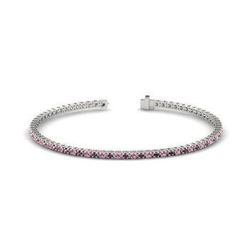 18K White Gold Bracelet with Pink Tourmaline & Rhodolite Garnet