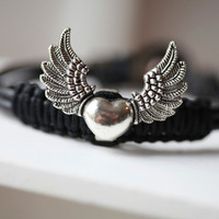Angel Wings  Bracelet  - Angel Wings On Black Leather - Silver Angel Wings Bracelet