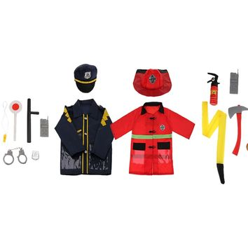 2 Sets Children Fire Chief & Police Man Role Play Fancy Dress Up Costume Halloween Cosplay Tools Set Kids Pretend Playing Game