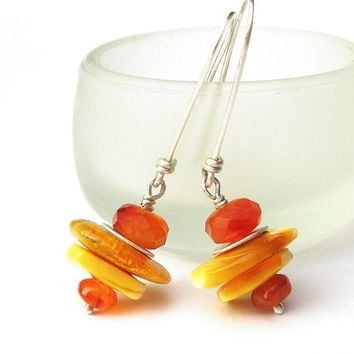 Sterling Silver Dangle Earrings  Yellow honey by BacaCaraJewelry