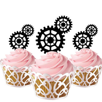 6 pcs in one set Gears CupCake toppers for party decor, baby shower party cupcake toppers acrylic,  gift for birthday