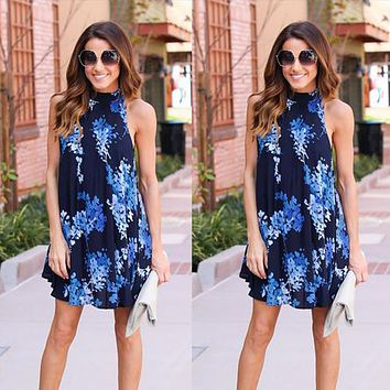 Fashion Back Hollow Print Loose Sleeveless Halter Mini Dress
