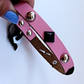 Studded Pet Collar - Genuine Leather  (Pink) Small Dog Collar