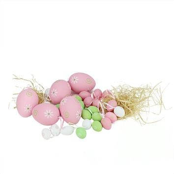 Set of 29 Pastel Pink  Green and White Painted Floral Spring Easter Egg Ornaments 3.25""