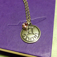 Gemini zodiac sign necklace, Alexandrite charm