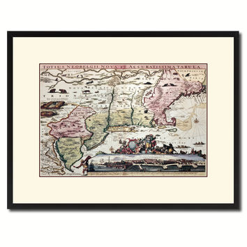 New England Vintage Antique Map Wall Art Home Decor Gift Ideas Canvas Print Custom Picture Frame