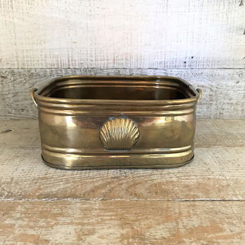 Brass Planter Hammered Brass Planter Seashell Planter Brass Wedding Decor Brass Succulent Planter Indoor Planter Gold Planter Flower Pot