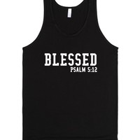 blessed psalm 5:12-Unisex Black Tank