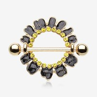 A Pair of Adorable Black Daisy Nipple Shield Ring