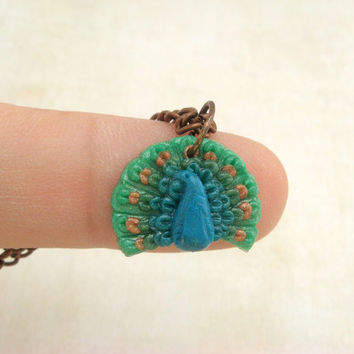 TINY peacock necklace  Polymer Clay Pendant  Antique by JustClayin