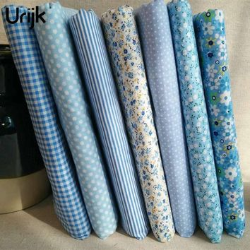 Urijk 7PCs/Lot 25*25cm Blue Mixed Flower Print Fabric DIY Sewing Accessories Quilting Bedding Cloth Sewing Material Textile