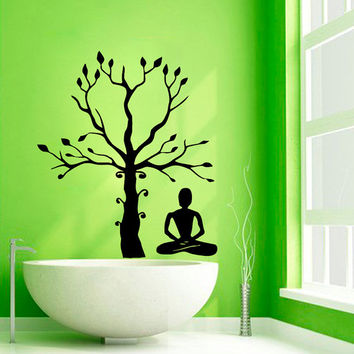 Yoga Wall Decals Tree Stickers Girl Meditation Spa Bathroom Decor Vinyl Stickers Home Decor Vinyl Art Wall Decor Nursery Room Decor KG248