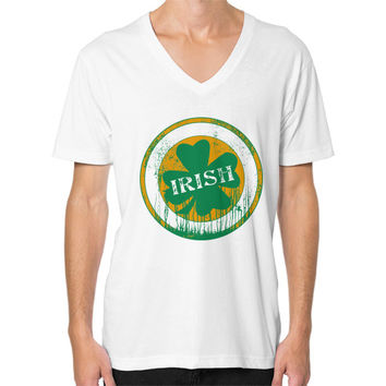 Irish four leaf dripping clover V-Neck (on man)