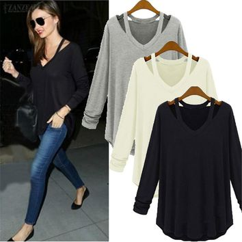 *Online Exclusive* Loose Blouse with V Neck Long Sleeve