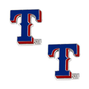 "MLB Texas Rangers Post Stud """"T"""" Logo Earring Set Charm - 5/8 By 1/2"