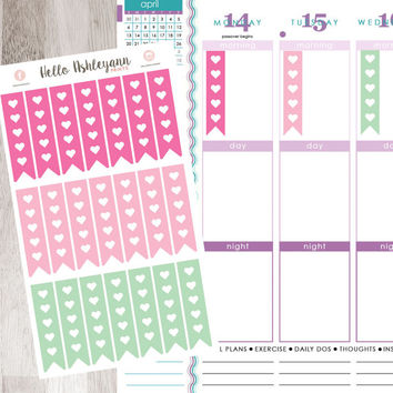 21 Mint / Hot Pink / May Heart Checklist Sticker Sheet | Erin Condren Planner / Plum Paper Planner / Filofax / Kikki K / Planner
