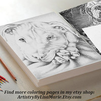 Dog Animal coloring book page, adult coloring book, coloring page, adult coloring page, coloring book, printable, Best selling, pit bull art