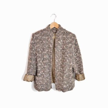 Vintage 60s Tweed Boucle Jacket in Mixed Taupe - women's medium