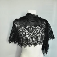 Black Knit Shawl, Knit Shawl, Lace Shawl, Black Lace Shawl, Black Knit Lace Shawl, Black Lace, Knit Lace, Made to order