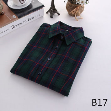 For Her: That Green One Medium - 5XL Plaid Flannel Long Sleeve Shirt