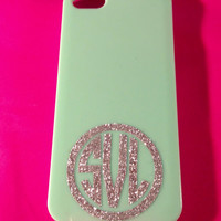 Glitter Monogram in Circle for iPhone 2""