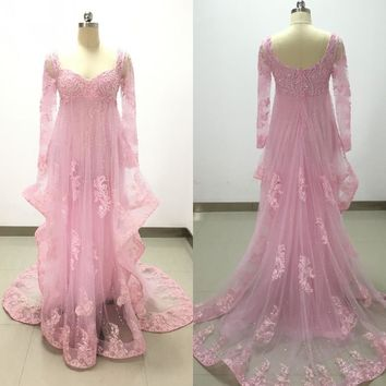 Tulle Sequins Beaded Pink Evening Dress with Long Sleeves Lace Appliques Court Train