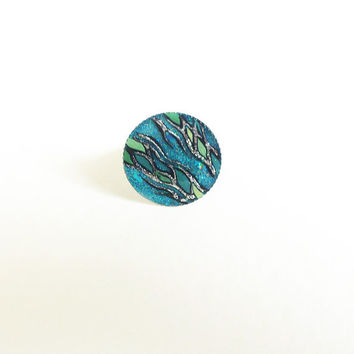 Hand painted Ring Aqua green mint blue mosaic Adjustable ring