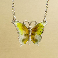 Vintage BEAU Sterling Enamel Butterfly Pendant Necklace