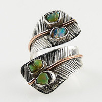 Ethiopian Opal Rough Sterling Silver Two Tone Adjustable Wrap Ring